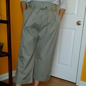 H&M olive cropped hi rise wide leg pants